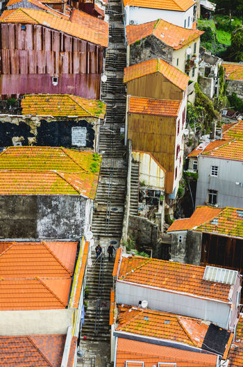 Porto in Portugal cityscape with characteristic houses cover with orange roof tiles long stairs in middle Aerial Architecture Building Exterior Built Structure City Corrugated Sheet Day Devastated Dirty Houses Long Distance  Moss Neglected Old Orange Tiles Outdoors Roofs Stairs Steps Top View Tourism Destination Travel Destinations Unesco