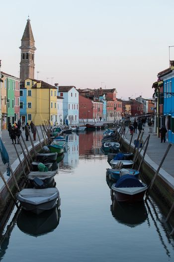 Reflection Burano Nautical Vessel Moored Water Building Exterior Clear Sky Built Structure Architecture
