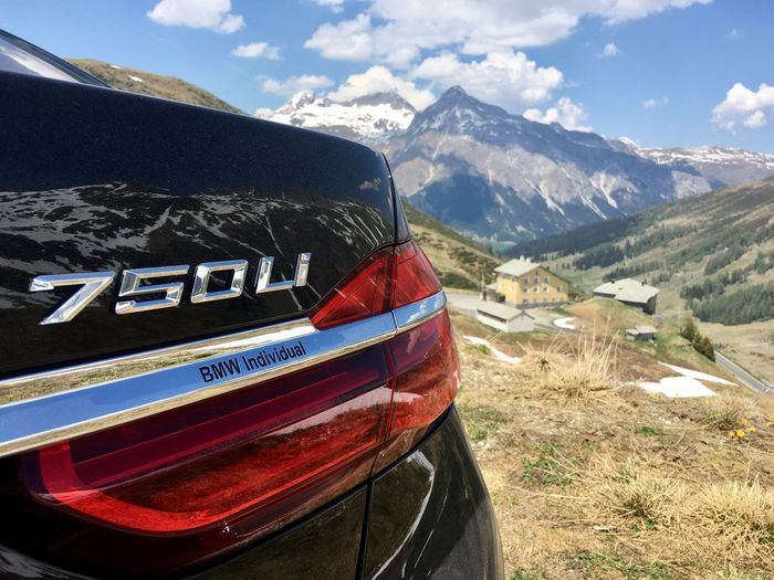 Bmw 7 Series 750 Splugenpass Car Mountain Luxury Bimmer Transportation Day Text Sky Mountain Range Outdoors Landscape No People Nature Close-up