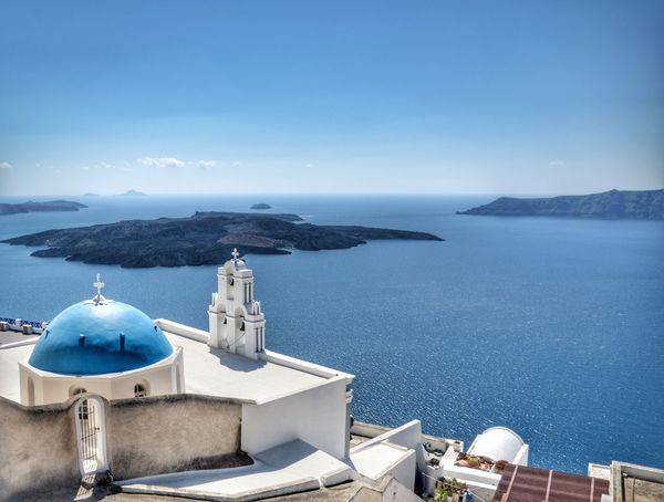 Blue Dome, Santorini, Greece 🇬🇷 Sea Religion Water No People Sky Place Of Worship Landscape Santorini Vacation Holiday Vacations Horizon Over Water EyeEmNewHere Landscape_Collection Travel Destinations Dome Landscape_photography Sun Beauty In Nature Idyllic Depth Of Field Ocean Island Volcano Nature EyeEmNewHere