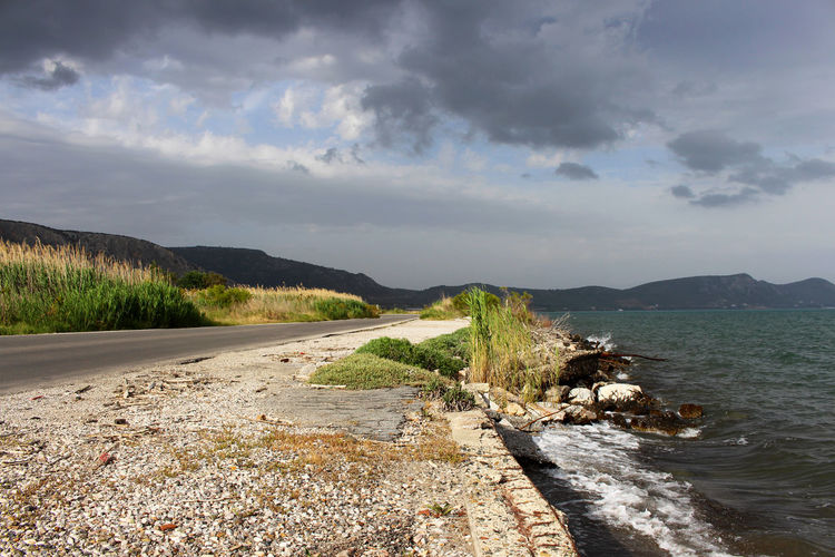 Beauty In Nature Calm Cloud Cloud - Sky Cloudy Coastline Day Greece Idyllic Landscape Lesbos Lesvos Nature No People Outdoors Overcast Remote Road Road To Nowhere Scenics Shore Sky Tranquil Scene Tranquility Water