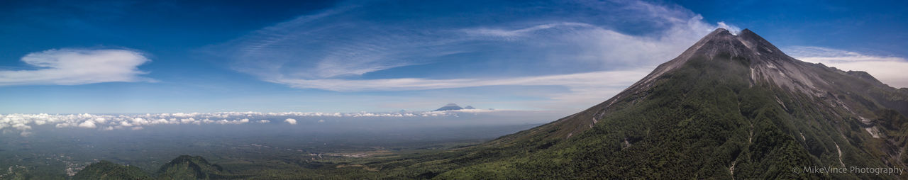 Wide, wider & widest Panoramic close-up photos of Mt. Merapi , Central Java, Indonesia (1 June 2018) INDONESIA Java Yogyakarta Beauty In Nature Bluesky Central Java Cloud - Sky Eruption Java Island Landscape Mount Merapi Mountain Mountain Peak Mountain Range Mt. Merapi Nature Scenics - Nature Sky Travel Destinations Volcano