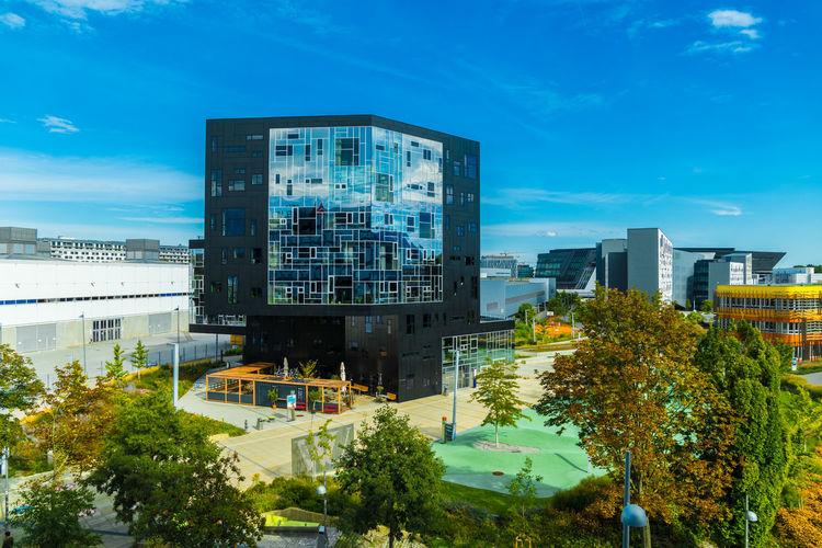 Modern buildings against blue sky