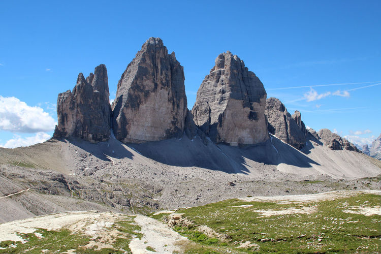 the Three Peaks in the Dolomites Sky Dolomites Dolomites, Italy Three Peaks Mountain Scenics - Nature Landscape Tranquil Scene Nature Tranquility Non-urban Scene Rock - Object Rock Formation Day Idyllic Blue No People Formation Mountain Peak Outdoors Dolomiten Beauty In Nature Drei Zinnen Majestic Italy❤️ Rock Environment