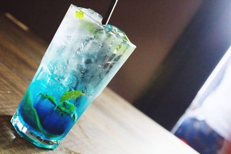 Food And Drinkk Drinking Straw Blue Coktail Mint Table Drinking Glass Drink Soda Water Blueberry Refreshment Freshness