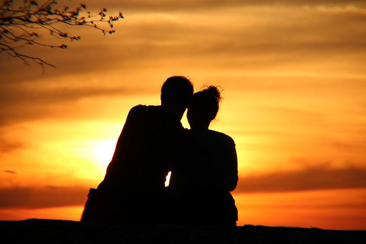 Sunset Love Togetherness Two People Silhouette Orange Color Bonding Sky Romance Real People Men Cloud - Sky Nature Beauty In Nature Couple - Relationship Lifestyles Embracing Women Leisure Activity Outdoors EyeEm Best Shots EyeEm Nature Lover First Eyeem Photo