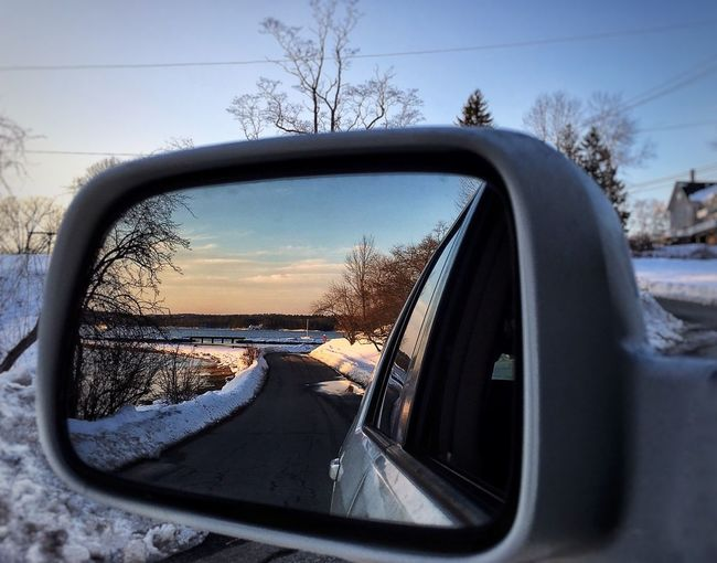 Look Back Car Side-view Mirror Outdoors Vehicle Mirror Winter Snow