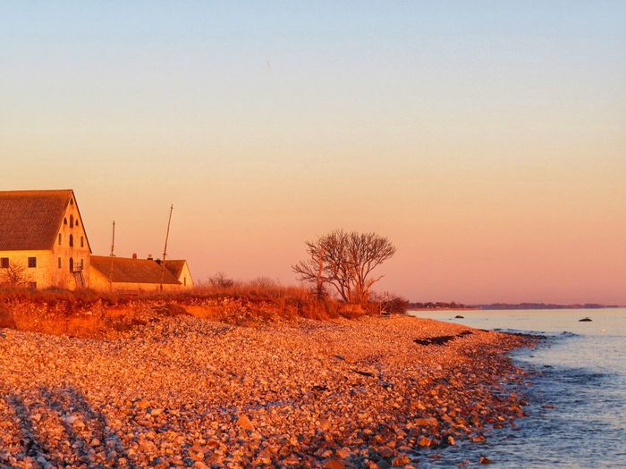 Sky Sunset Beauty In Nature Scenics - Nature Nature Water Clear Sky Beach Orange Color Tranquil Scene Idyllic