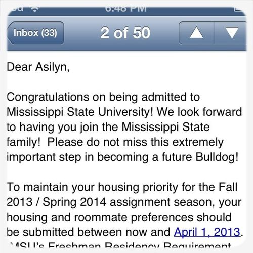 Just Got Accepted To Mississippi Staye #HailState