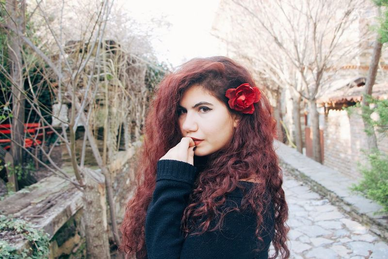 Rose Rosé Nikonphotography Nikon Rose🌹 EyeEm Selects One Person Young Adult Young Women Beauty Portrait Hairstyle Beautiful Woman Redhead Lifestyles Adult Warm Clothing Hair Long Hair Tree Nature Plant Women Clothing Leisure Activity Outdoors