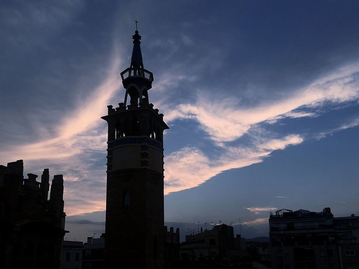 Caixaforum Barcelona Casaramona Architecture Sky Cloud - Sky Sunset Building Exterior Built Structure Statue Human Representation Low Angle View Sculpture Silhouette No People Outdoors History Religion Travel Destinations Spirituality City Cityscape Day Puig I Cadafalch Modernisme
