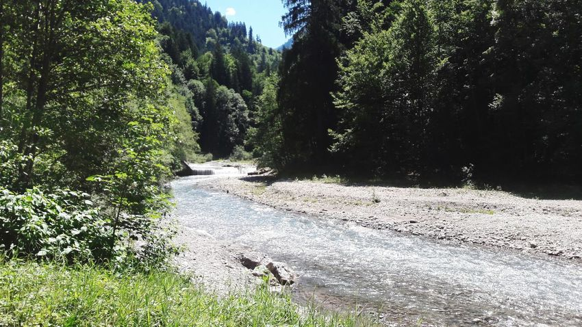 Ein Fluss in einem Tal. Tree Nature Outdoors No People Day Sky Beauty In Nature Grass