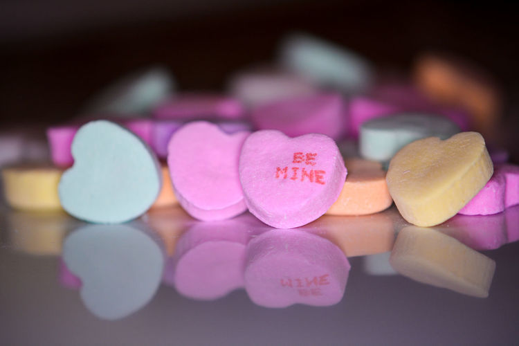 Close-up of colorful heart shape candies