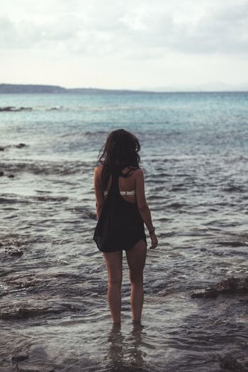 Ibiza Sea Horizon Over Water Standing One Person Sky Water Beach Nature Full Length Lifestyles Young Women Vacations Beauty In Nature