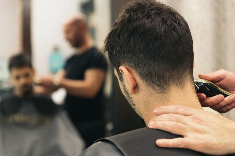 Man at barber shop