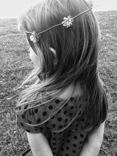 One Person Rear View Long Hair Outdoors Day Wearing Flowers Real People Headshot One Girl Only Standing People Grass Headband Medium-length Hair Flower Close-up Nature Girl Child Childhood Girls Flowers The Week On EyeEm