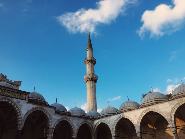 EyeEmNewHere Architecture Blue Sky Built Structure Day Low Angle View Cloud - Sky Travel Destinations No People Outdoors Building Exterior City Mosque Blue Sky Exploring EyeEm Best Shots Eye4photography