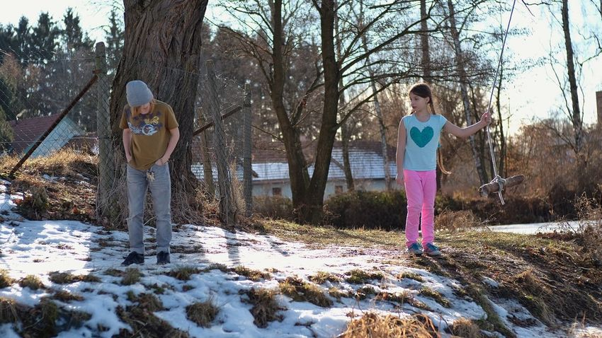 Cold Temperature Day Kids Kids Being Kids Nature Outdoors Snow Swing Swing In The Woods Tree Winter Young Adult