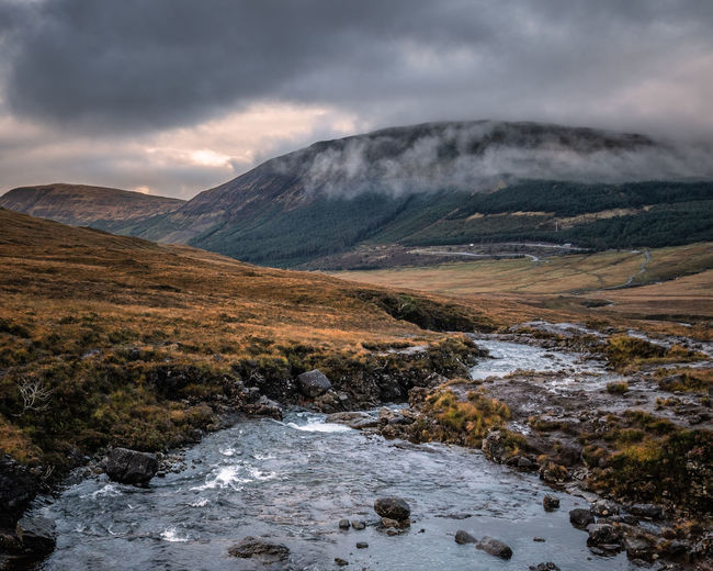 Scenic view of scottish mountains against sky