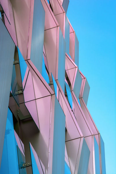 Architecture Blue Building Building Exterior Built Structure Clear Sky Day Glass - Material Low Angle View Modern Multi Colored Nature No People Office Building Exterior Outdoors Pattern Pink Color Purple Sky Sunlight The Architect - 2018 EyeEm Awards EyeEmNewHere