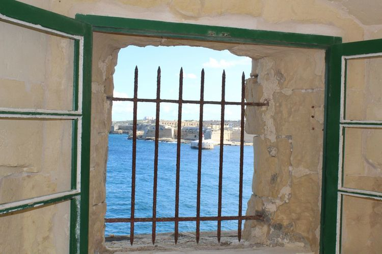 Medieval Structures Malta Fort st Elmo, Valletta Window Architecture Security Bar No People Historic Buildings Historic Town Water Harbor Clear Sky