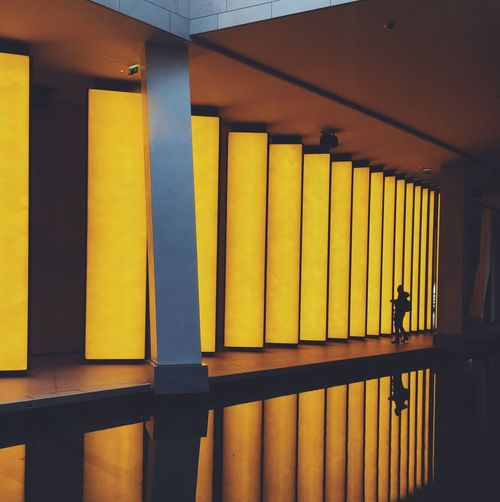 Shadow. Built Structure Indoors  No People Yellow Architectural Column Architecture Illuminated Day The City Light