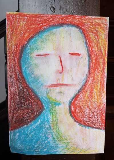 Created at the Bundaberg Regional Art Gallery on 16th Nov 2015. Larger size available. Alseep Anthropomorphic Face Art Art And Craft Blue Crayon Creativity Human Representation Male Likeness Red