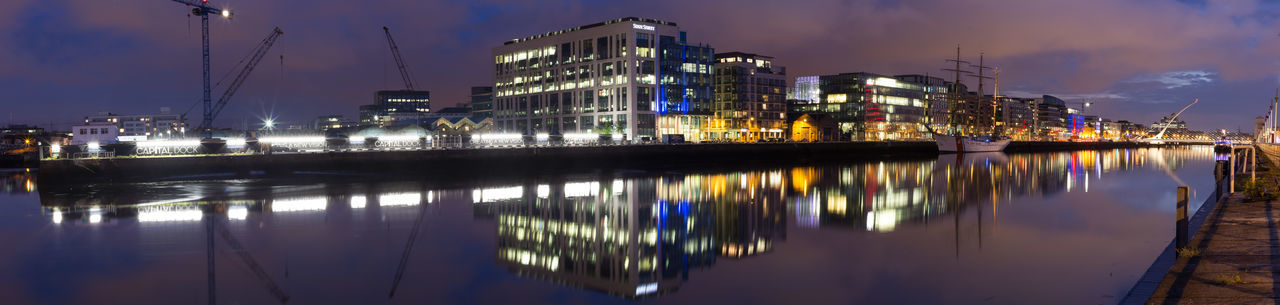 The river Liffey in Dublin at night. Architecture Building Exterior Built Structure City Dublin, Ireland Flowing Flowing Water Liffey Liffeybridge Liffeyriver Long Exposure Night Night Lights Nightphotography Panorama Panorama View Panoramic Reflection Reflections In The Water River Sky Water Waterfront Wide Wide Shot