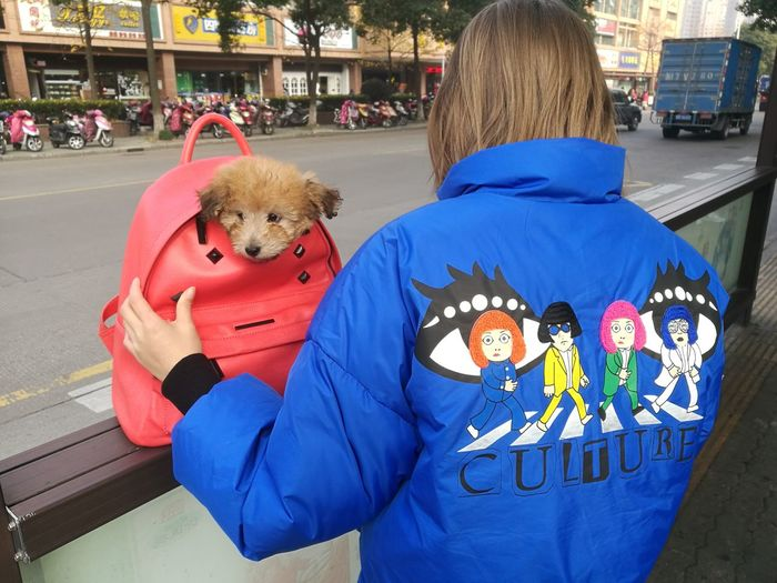 女孩和狗 狗 宠物狗 Dog Outdoors One Person People 公交站