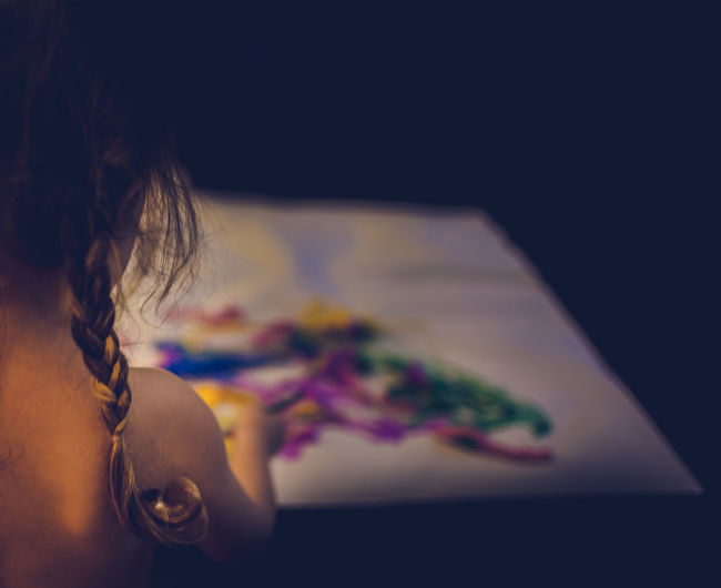 Child painting Art Braid Child Childhood Close-up Creativity Curl Day Indoors  Multi Colored One Person Paint People