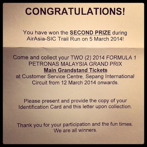 Secondprize Airasia Sepanginternationalcircuit TrailRun  10k formula1 f1 petronasmalaysiagrandprix maingrandstand tickets winner winning happy