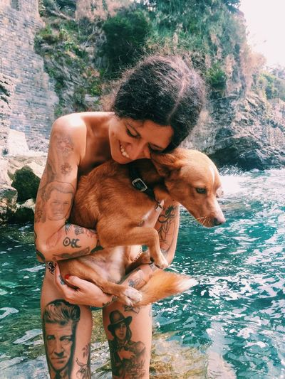 Water Pets Dog Mammal Real People Shirtless Day Domestic Animals Togetherness Outdoors Leisure Activity Nature Lifestyles Bonding Men Young Adult People Joyful Vacations Friend Friends Love Family Dogs Be. Ready.