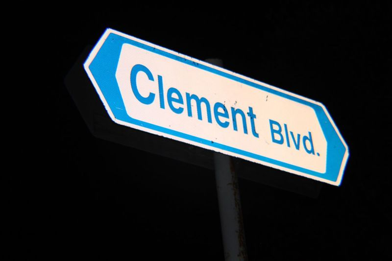 Places and things. Clément Guidance Capital Letter Road Sign Blue Outdoors Low Angle View No People Night