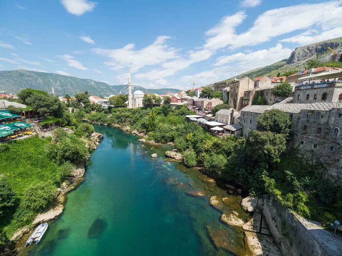 Bosnia And Herzegovina Ottoman Ottoman Empire Architecture Blue Sky Bosnia Building Exterior Built Structure Cloud - Sky Day Jumping Mosque Mosque Architecture Nature Plant River Sky Stari Most Tree