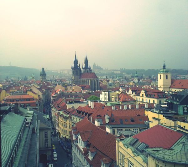 Rainy morning in Prague City Cityscape Architecture Roof Travel Destinations Sky Built Structure Building Exterior Urban Skyline Outdoors Business Finance And Industry No People Day Finding New Frontiers