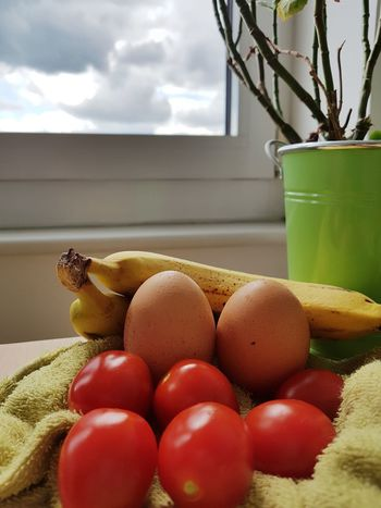 Healthy Eating Food And Drink Indoors  Freshness Fruit Healthy Lifestyle Food Close-up Sky Flatlay Food Flatlay Freshness Fresh Fruit Fresh Vegetables Plant Potted Plant House Plant Green Colour Red Colour Eggs Food Composition Table Tomatoes Cherry Tomatoes Cooking Ingredients Preparing Food