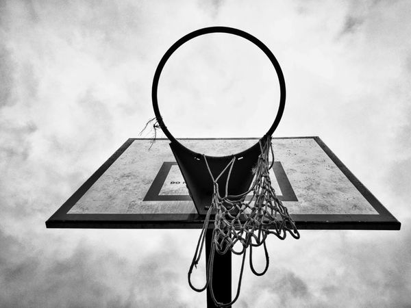 No People Wood - Material Basketball Hoop Day Low Angle View Sky Basketball - Sport Outdoors Speech Bubble 3XSPUnity Black And White Photography Parks Cloud - Sky