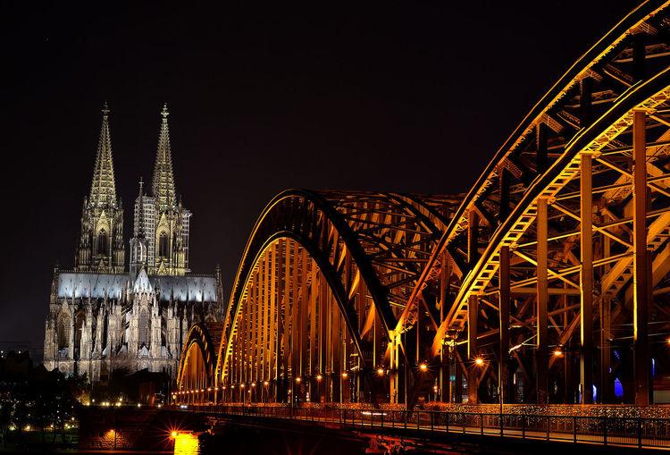 Cathedral Köln Kölner Dom Perspective Architecture Bridge Bridge - Man Made Structure Built Structure City Illuminated Night No People Outdoors Religion Travel Travel Destinations
