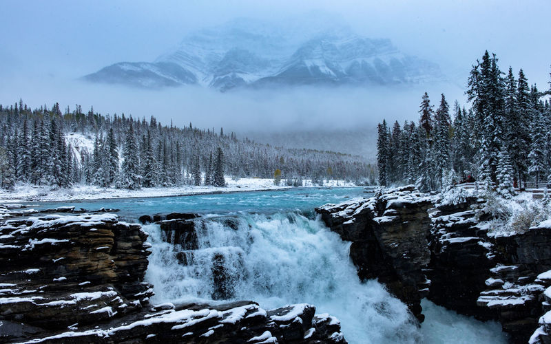 A fantastic image of waterfall, mountains, trees & fog while snowing, Athabasca Falls, Jasper, Canada. Idyllic Plant Waterfall Waterfall_collection Athabasca Falls Power In Nature Snowcapped Mountain Flowing Flowing Water Outdoors Land Day No People Non-urban Scene Environment Tranquility Nature Mountain Fog Tranquil Scene Snow Water Winter Cold Temperature Beauty In Nature Scenics - Nature Tree My Best Photo 17.62°