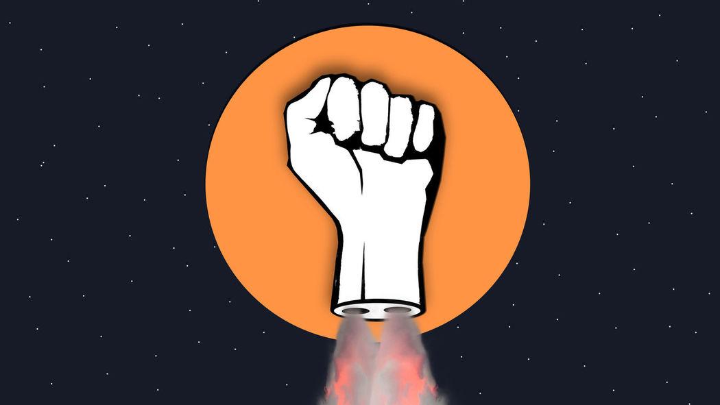 Art ArtWork Collage Conquer Conquering  Fist Flying Object Grahic Design Hand Moon Night Revolution Rocket Superhero Surealism TakeOff UFO Vintage