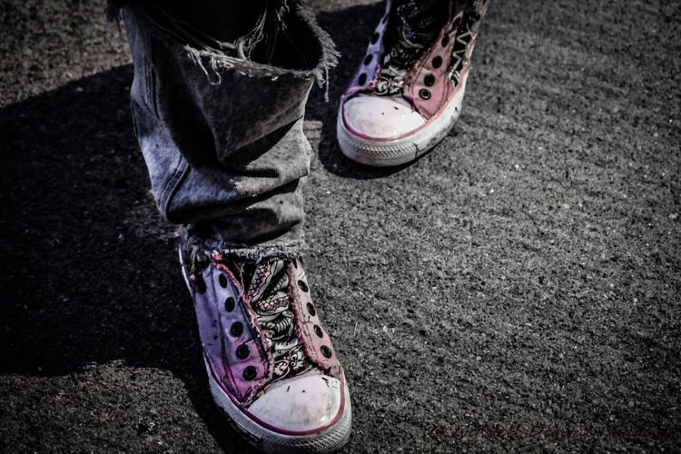 """""""In Her Shoes"""" Street Photography Light And Shadow Color Splash Taking Photos people shoes bw BlackAndWhite black&white pink path dEfyant IvyWellDI"""