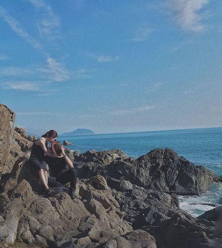 Kyduyen Dangtrieu Nature Sky Beach Beauty In Nature Enjoying The View Lovephotography  Lovethemoment Pictures Moment In Time Camping Holiday Nice View Two People Rear View Togetherness Sunshine Camping Trip! Danang, Vietnam