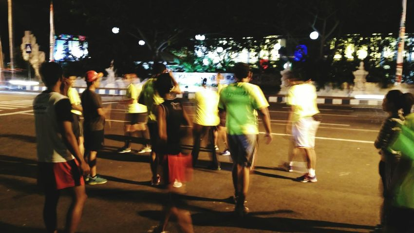 """ go runners :) Leisure Activity Medium Group Of People Night Street City Life Group Of People Outdoors Casual Clothing Night Run Go Runners Banyuwangi Running Time Running Free The Color Of School The Color Of Sport People And Places The Street Photographer - 2017 EyeEm Awards"