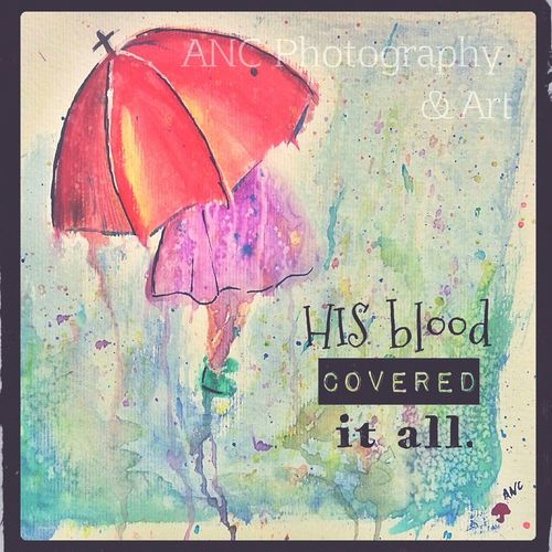 Watercolor Water Red Umbrella Christian Rainy Day Painting Ancphotography & Art Spring Into Spring Spring Art Art