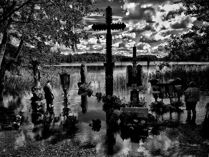 Just water and crosses Outdoors Water Lithuanian Lakes Lithuanian Countryside Lithuania Lake Tranquility Black & White Photography Crosses Been There. Summer Exploratorium