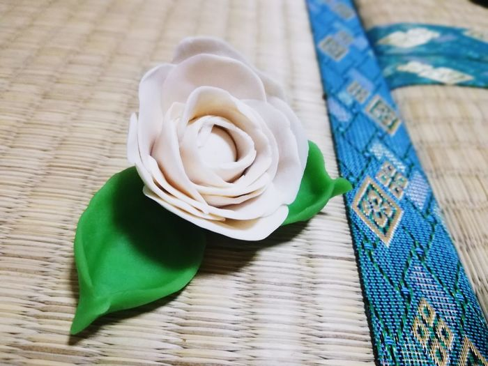 Clay! White Flower Clay Clay Work Molding A Shape Studio Shot Close-up Green Color Flower Head Petal Blooming In Bloom Single Rose Single Flower
