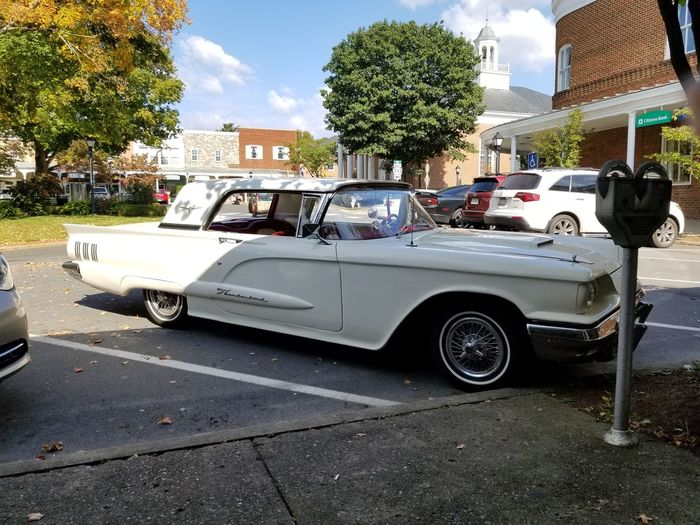 Car Transportation Mode Of Transport Land Vehicle Day Tree No People Outdoors Sky Pennsylvania Ligonier Diamond Thunderbird 1960 1960 Outdoor Shopping Mall Cars Vehicles Cloud - Sky Street Road Old Car Antique Car Mobility In Mega Cities Colour Your Horizn