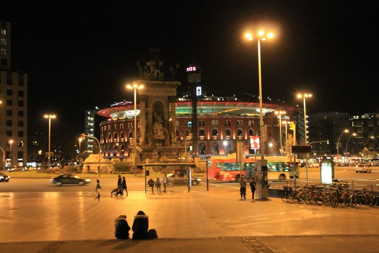Plaza Espanya Barcelona SPAIN Night Illuminated City Architecture Street Light Building Exterior Built Structure Travel Destinations Large Group Of People Sky Outdoors People Enjoying Life Taking Photos Hanging Out Check This Out Streetphotography City Travel Tourism Nightphotography City Life