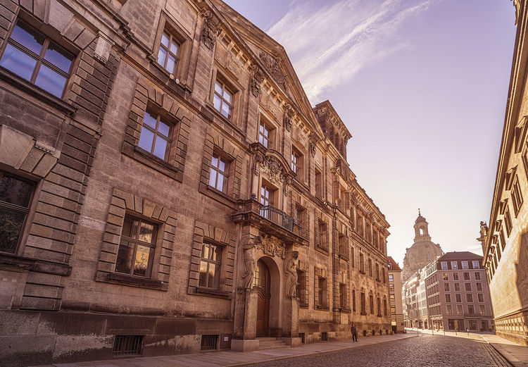 city center of Dresden, Germany, with historic buildings and the Fuerstenzug (Procession of Princes), a giant mural Architecture City Dresden Morning Sightseeing Travel Building Cobblestone Germany History Sachsen Saxony Travel Destinations