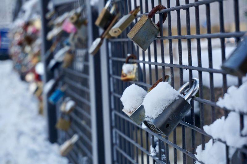 Close-Up Of Love Locks On Railing